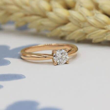 Bague Phanie - solitaire diamant 5 mm en or rose-champagne 750/1000 18 carats Fairmined
